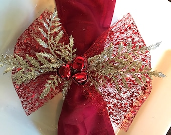 Napkin Rings - gold cedar branches and red jingle bells with Dotted Net Ribbon - Christmas