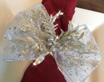 Napkin Rings - silver leaves and glittery silver berries with Silver Snowflakes Ribbon - Christmas