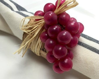 Napkin Ring:  Burgundy Grapes with cork ribbon and raffia - housewarming -Dinner Party