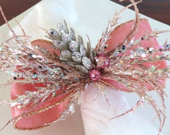 Napkin Ring: - Pink and Gold Bow with Blush Sprigs
