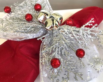 Napkin Rings - silver cedar and glittery red berries with Silver Snowflakes Ribbon - Christmas