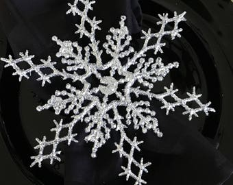 Large Sparkly Silver Snowflake Winter Wonderland Napkin Rings for Frozen Party, Christmas or New Years Table