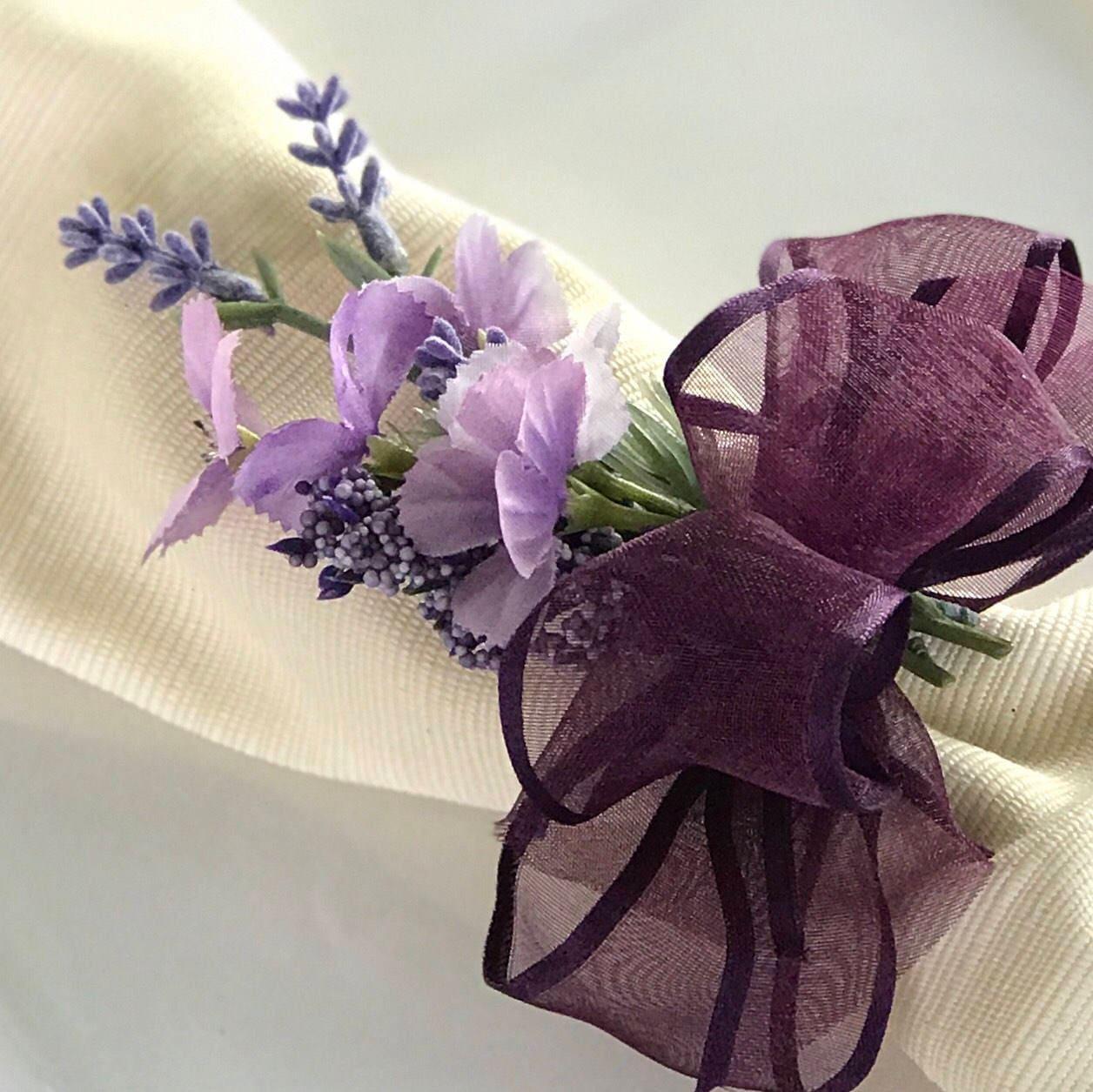 Napkin Ring Purple Flower Bouquet Wedding Decoration Wedding