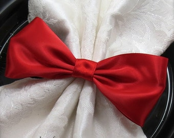 Crimson Red Bow Napkin Ring - Wedding Reception Christmas Valentine's