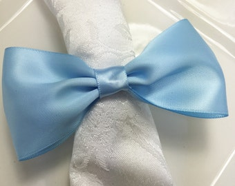 Bow Tie Napkin Ring - Satin Baby Blue Tie  -  Baby Shower - New Years - Wedding Reception - Formal Dinner