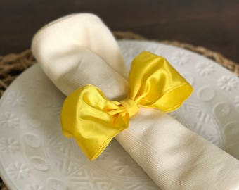 Yellow Tie Bow Napkin Ring -  New Years - Wedding Reception - Formal Dinner