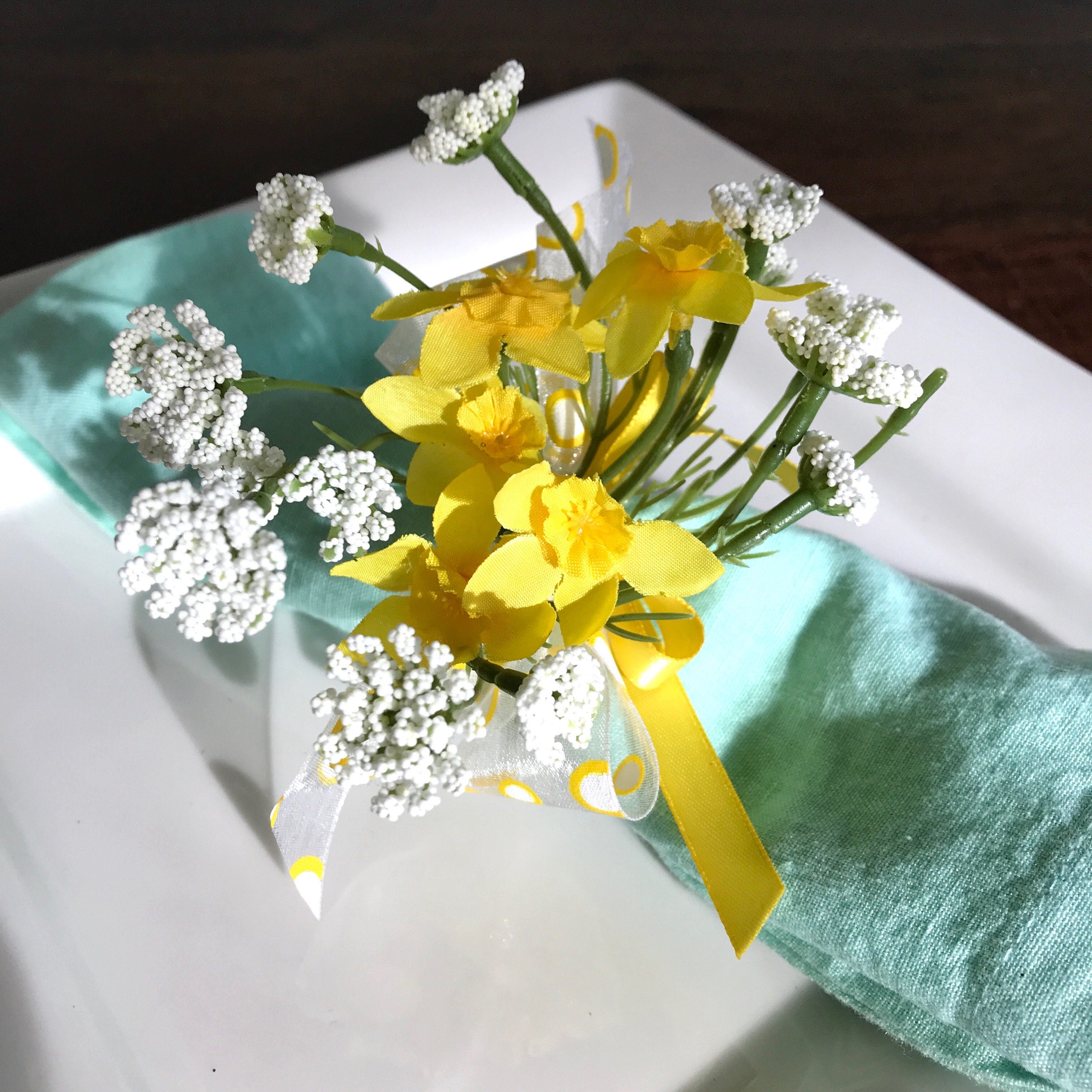 Napkin Ring Yellow Daffodils Queen Anne Lace Wedding Decoration Wedding Showers Easter
