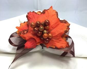 Gold and Orange Autumn Napkin Ring  - Thanksgiving