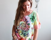 Grateful Dead Dancing Bears Bear Tie Dye Cut Out Off The Shoulder Oversized Hippie Boho Upcycled Tshirt Tee Top Shirt Womens Clothing
