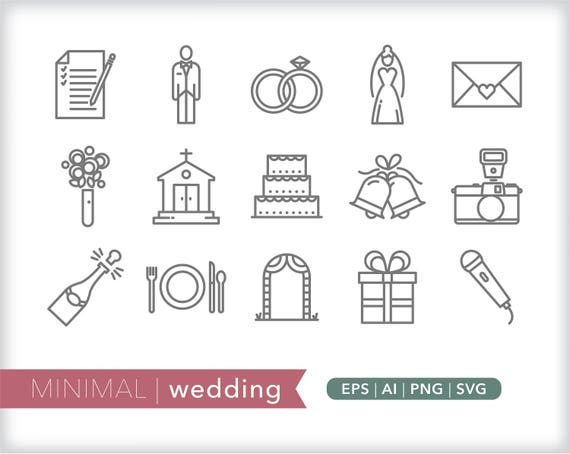 Wedding Line Icons Eps Ai Png Instant Digital Download For Etsy