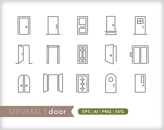 Door Line Icons Eps Ai Png Instant Digital Download For Etsy
