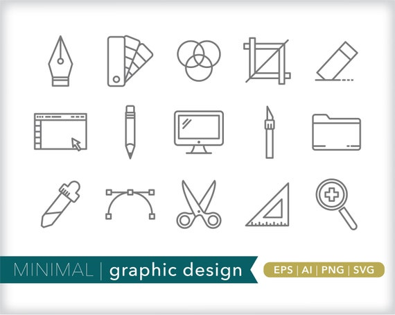 Graphic Design Line Icons Design Software Icon Illustrations Etsy