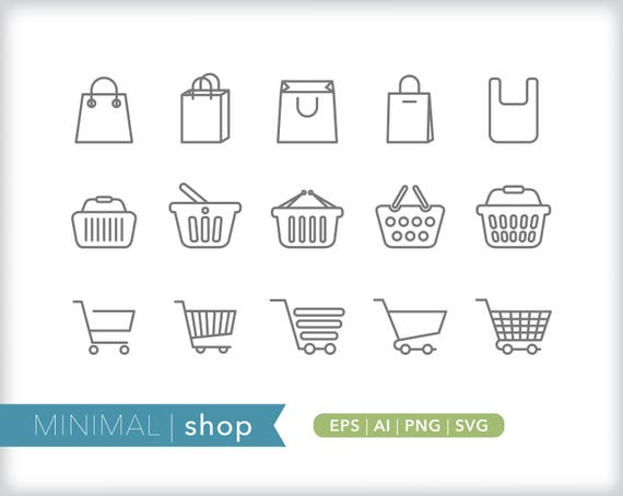 Shop Line Icons Store Icons Eps Ai Png Digital Download Etsy