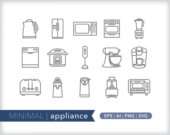 Appliance Line Icons Kitchen Icon Illutrations Eps Ai Png Instant Digital Download For Design Social Media Crafting And Web Use
