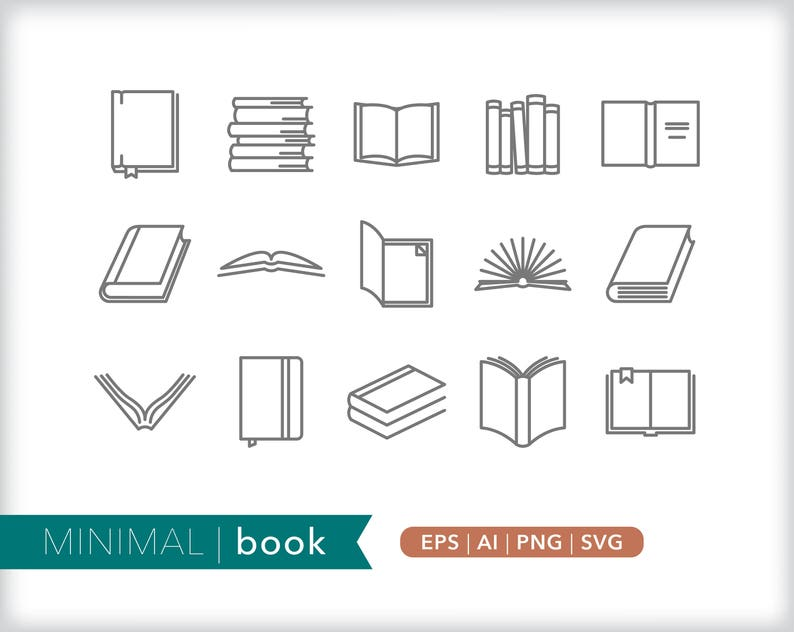 Book line icons | Library icon illustrations | EPS AI PNG | Digital  Download for design, social media, web use