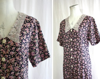 Amazing BONJOUR Ditzy Floral Cotton Short Sleeve Jumpsuit Romper w/ Palazzo Pant Legs | 1970s Granny Chic | Sm Med 32 Bust