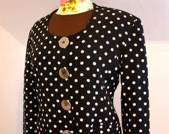 Black + White Polka Dot Blazer Jacket Silvertone Metal Buttons BCBG Sportwear Vintage 1980s Womens Large 32-34 Waist