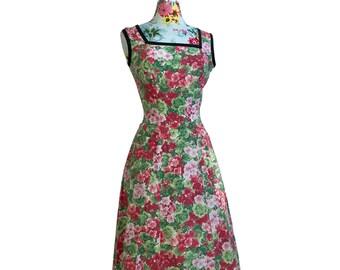 "Geraniums Floral Print Cotton Sundress Home-Made Vintage 1970s Womens XXS 24"" Waist"