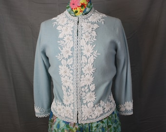 "Vintage Light Blue Beaded Tri-ply Cashmere Cardigan Sweater with Floral Beaded Trim Womens Med 32-34"" Bust"