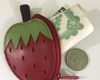 Buxton Red Strawberry Coin Purse Genuine Leather 3 Inch Mini Super Kawaii