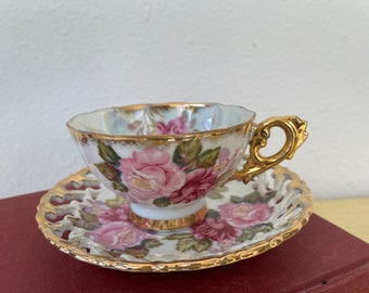 Pretty Pink Roses Hand Painted Porcelain Tea Cup + Saucer 2 Pc. Royal Sealy China Vintage 1960s Grandmillenial