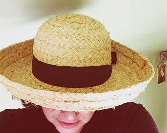 Vintage Straw Sun Hat Womens Wide Brim w/ Black Ribbon Back Bow  SF Green San Francisco Hat Company Med 23
