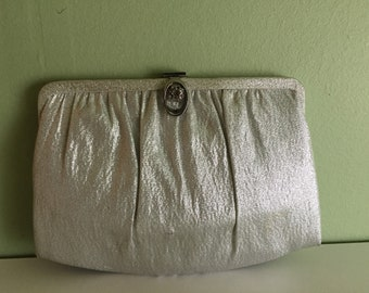 Shiny Silver Lurex Covertible Handbag Clutch Ande Vintage 1960s Las Vegas Glam New Year's Eve