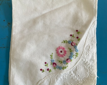 Vintage Linen + Crochet Lace Embroidered Pocket Square Hanky 1950s