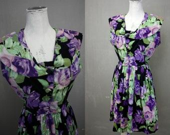 Purple Roses | United Colors of Benetton | Retro 1950s Style Black Floral Chinz Cotton Day Dress | Vintage 1980s | LG Waist 29