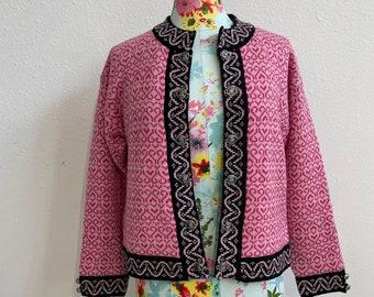 Windfjord Pink on Pink WOOL Knit Cardigan Sweater Womens Medium Made in Norway