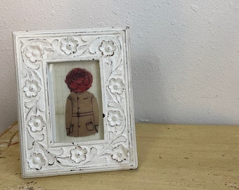 Cottage Chic White Carved Wooden Picture Frame Flower Border Made in India