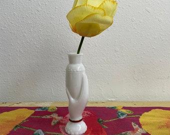 Avon Retro Victorian Small Hand Milk Glass Vase Vintage 1950s Recycled Perfume Bottle Missing Stopper