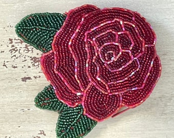Beaded Red Rose Beaded Coin Purse Vintage 1990s Y2K