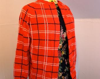 "Jackie O Style Boxy Cardigan Sweater Bright Red, White + Blue Window Pane Plaid Vintage 1960s Mod Womens Med 32-35"" Waist"
