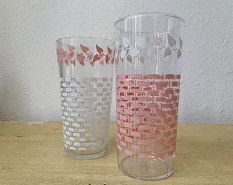 Libbey Pastel Pink + White Ivy Basket Weave Clear Drinking Glasses PAIR Vintage 1950s Drink Ware