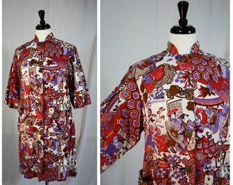 Vintage Red, Plum and Cream GEISHA Novelty Print Asian Styled COTTON House Dress | Mid Century Maven | Womens M | 34 Waist | Made in Usa
