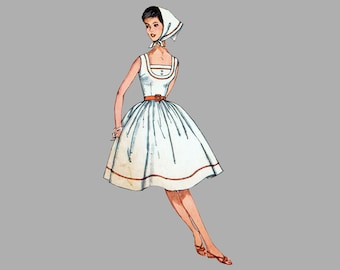 40ea6e46f30bd 1961 One-Piece Dress and Scarf pattern Simplicity 3918 Fitted bodice with  scooped neck Full gathered skirt Bust 32 Size 12