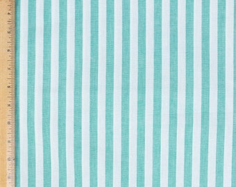 """Cotton fabric, green and white stripe, 60"""" wide, Summer skirt fabric, Dress fabric, Pillow fabric,"""
