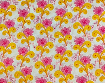 Cotton fabric, Pink fabric, yellow fabric, white background, Art Gallery Fabrics, Sold by the yard