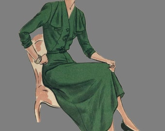 1950's Vogue 6542 dress sewing pattern, Bust 42 inches, Dress with A line skirt, V neck dress