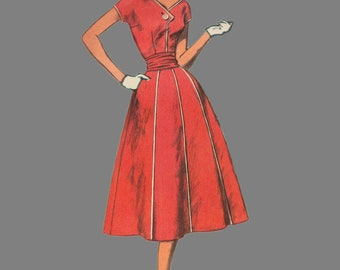 1950's one-piece dress with crushed belt, Simplicity 2037, Slenderette pattern, Bust 34, Size 14