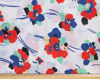 """Mid century fabric, Red and blue pansies, Flower fabric, 43"""" wide, Blouse fabric"""