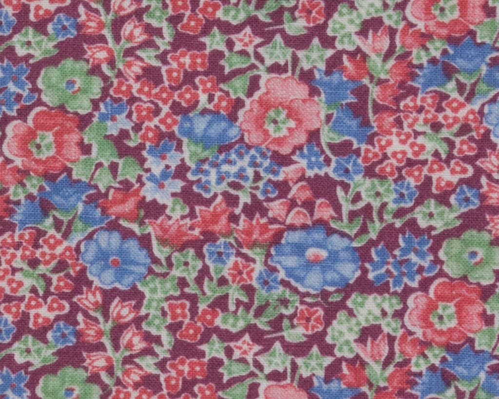 Rose And Blue Cotton Fabric Mauve Background Pink Green Blue Etsy