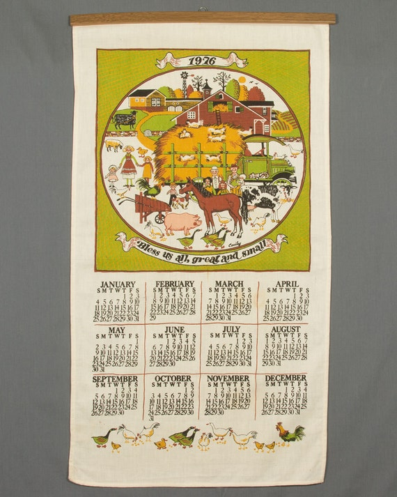 1976 Fabric Calendar Wall Hanging Bless Us All Great And Etsy