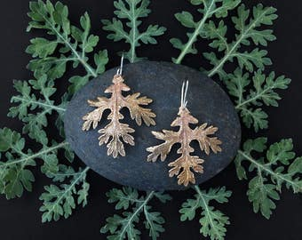 Bronze FeverFew Leaf Earrings - Handmade in Austin, Tx - Plant Jewelry - Statement Earrings - made by Jamie Spinello