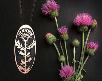 Milk Thistle Cameo Pendant  - Copper or Sterling Silver  - by Jamie Spinello