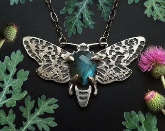 Moth Necklace with Labradorite, Copper or Silver, Insect Jewelry,  based on my original drawing, Jamie Spinello