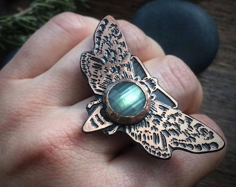 Moth Ring with Labradorite, Copper, Insect Jewelry,  based on my original drawing, Jamie Spinello