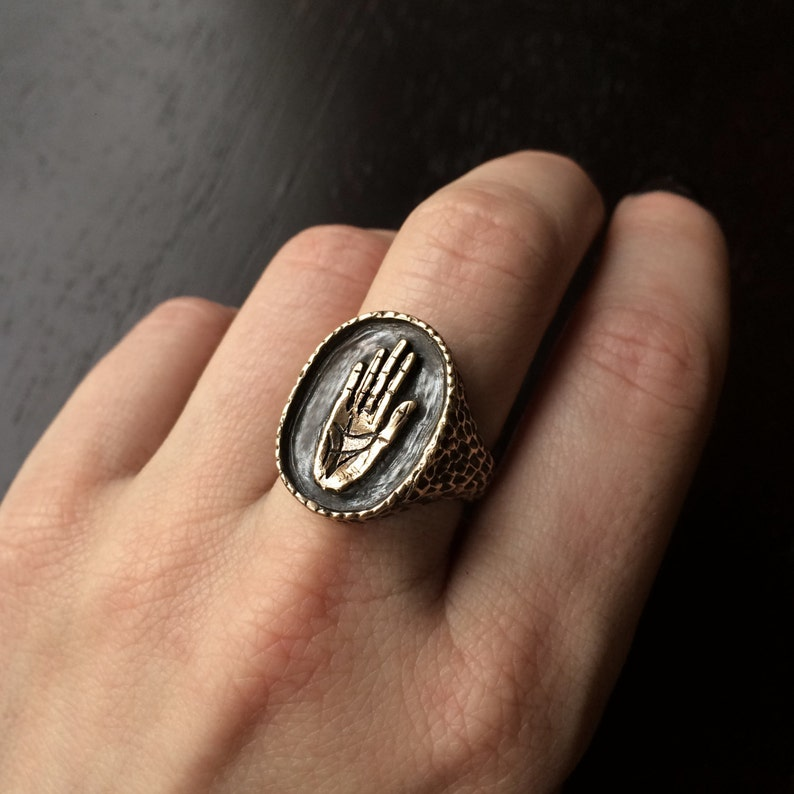 made in Austin Tx Hamsa Signet Ring available in Bronze or Sterling Silver by Jamie Spinello