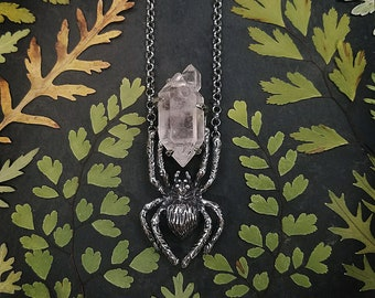 Hunting Spider Necklace, Bronze and Tibetan Quartz, Made in Austin,Tx by Jamie Spinello